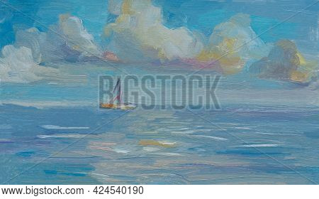 Cloud Sea Oil Painting. Abstract Blue Seascape With Cumulus Clouds Sailboat. Impressionism, Plein-ai
