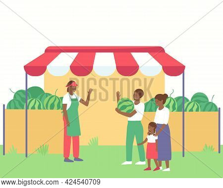 An African American Farmer Sells Watermelons To A Family. Children Need Fresh Fruit. Fresh Watermelo