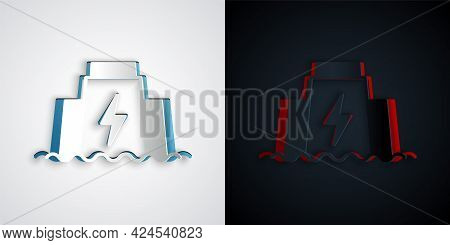 Paper Cut Hydroelectric Dam Icon Isolated On Grey And Black Background. Water Energy Plant. Hydropow