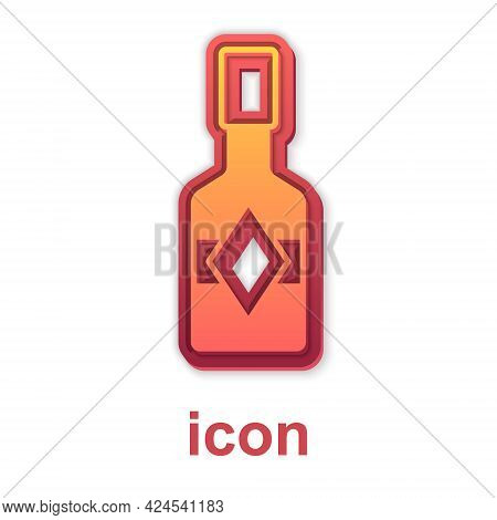 Gold Tabasco Sauce Icon Isolated On White Background. Chili Cayenne Pepper Sauce. Vector