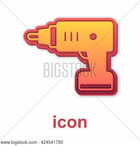 Gold Electric Cordless Screwdriver Icon Isolated On White Background. Electric Drill Machine. Repair