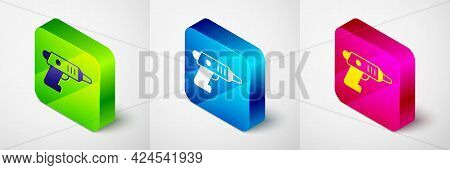 Isometric Electric Cordless Screwdriver Icon Isolated On Grey Background. Electric Drill Machine. Re
