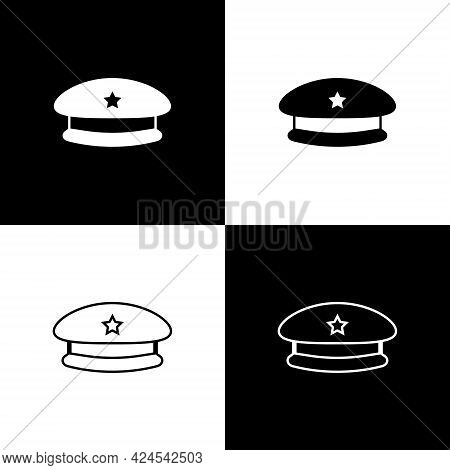 Set Military Beret Icon Isolated On Black And White Background. Soldiers Cap. Army Hat. War Baret. V