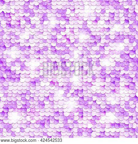 Sequins Sparkling Background. Violet Color. Seamless Pattern. Illustration.
