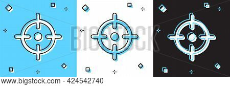 Set Target Sport Icon Isolated On Blue And White, Black Background. Clean Target With Numbers For Sh