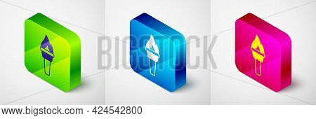 Isometric Torch Flame Icon Isolated On Grey Background. Symbol Fire Hot, Flame Power, Flaming And He