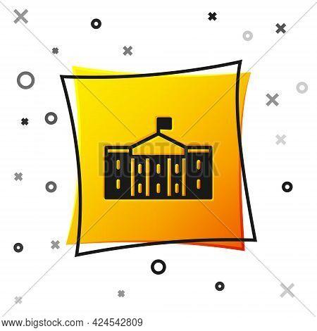 Black United States Capitol Congress Icon Isolated On White Background. Washington Dc, Usa. Yellow S