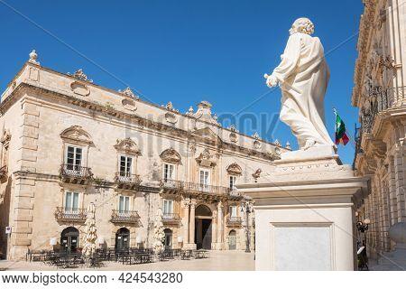 Syracuse, Italy - March 11, 2020: Architecture of the Piazza Duomo in Ortigia, Sicily, Italy