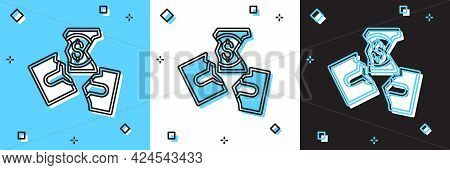 Set Tearing Apart Money Banknote Into Three Peaces Icon Isolated On Blue And White, Black Background