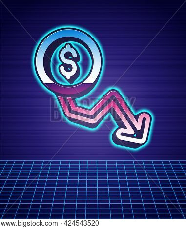 Retro Style Dollar Rate Decrease Icon Isolated Futuristic Landscape Background. Cost Reduction. Mone