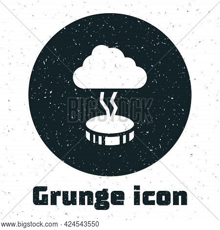Grunge Storm Icon Isolated On White Background. Cloud And Lightning Sign. Weather Icon Of Storm. Mon