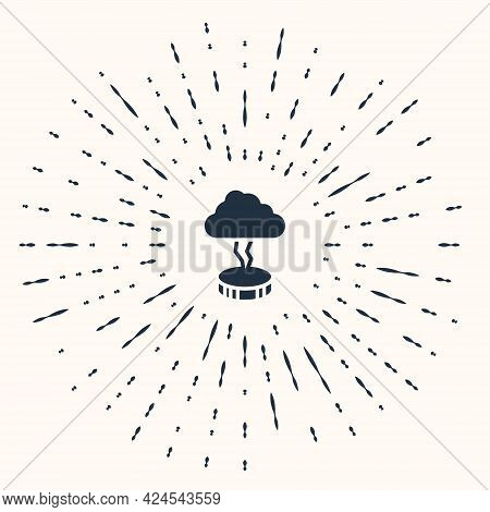 Grey Storm Icon Isolated On Beige Background. Cloud And Lightning Sign. Weather Icon Of Storm. Abstr