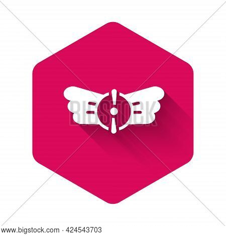 White Aviation Emblem Icon Isolated With Long Shadow Background. Military And Civil Aviation Icons.