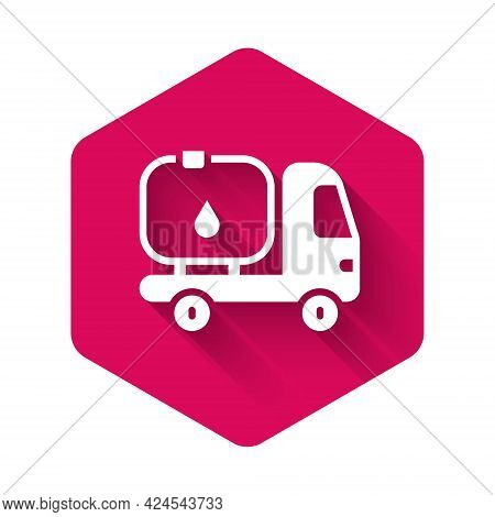 White Fuel Tanker Truck Icon Isolated With Long Shadow Background. Gasoline Tanker. Pink Hexagon But
