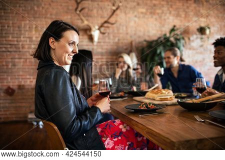 Friends having fun at a dinner party