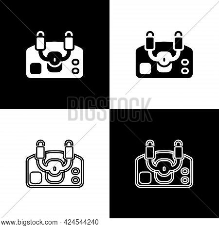Set Aircraft Steering Helm Icon Isolated On Black And White Background. Aircraft Control Wheel. Vect