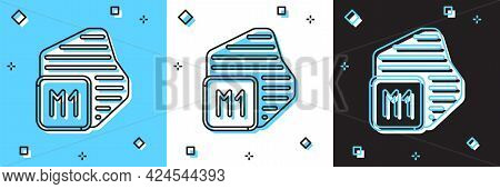 Set Processor Icon Isolated On Blue And White, Black Background. Cpu, Central Processing Unit, Micro