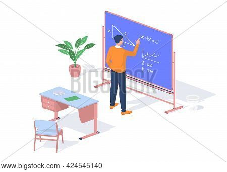 Student Solves Math Objective Near Blackboard. Modern Training With Possibility Online Consultations