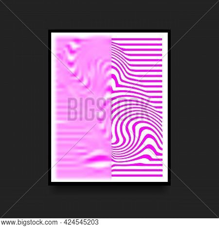 Pink Distorted And Blurred Poster In Swiss Style. Scandinavian Linear Graphic. Vertical Abstract Bro