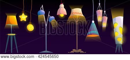 Lamps, Ceiling And Floor Glowing Electric Bulbs, Incandescent Modern Lightbulbs, Torchere Of Differe