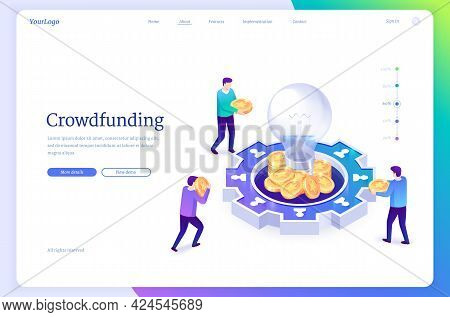 Crowdfunding Isometric Landing Page. People Donate Money For Idea Support Put Coins In Huge Glowing
