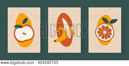 Abstract Halves Of Fruits. Minimalistic Apple With Leaves. Yellow Banana Half Peeled. Ripe Slice Of