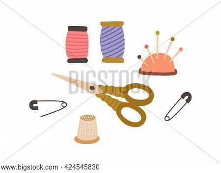 Set Of Sewing Accessories. Thread Spools, Pad With Pins, Scissors And Thimble. Tailors Supplies For