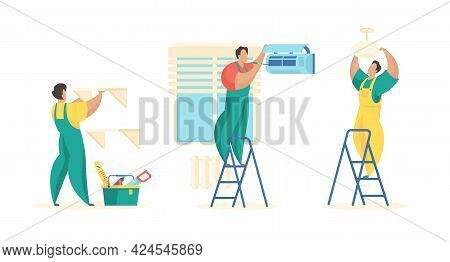 Installation And Renovation Apartment Interiors. Uniformed Craftsmen Attach Shelves Walls And Chande