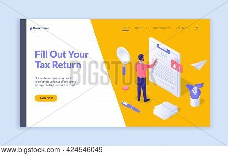 Correct Filling Tax Documents. Man Carefully Checks Written Financial Statement. Analysis And Calcul