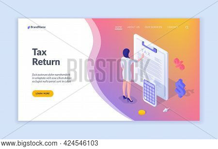 Filling Tax Return. Woman Checks Written Financial Statement. Marketing And Calculation Commercial I