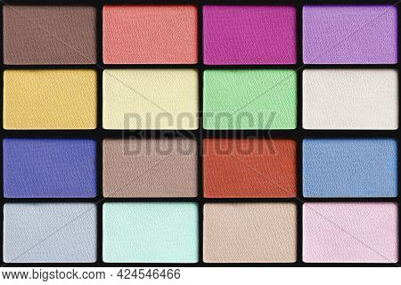Colorful Matte Eyeshadows Palette Closeup As Seamless Background