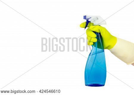 Spring Cleaning Concept.top View Of Hand In Yellow Rubber Gloves Holding Blue Spray Bottle.cleaning