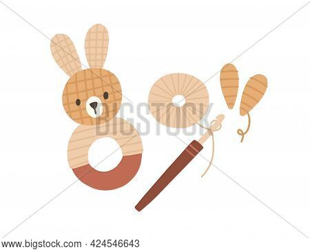 Pom-pom Animal Toy, Yarn, Threads And Crochet Hook. Process Of Making Cute Pompom Bunny. Composition