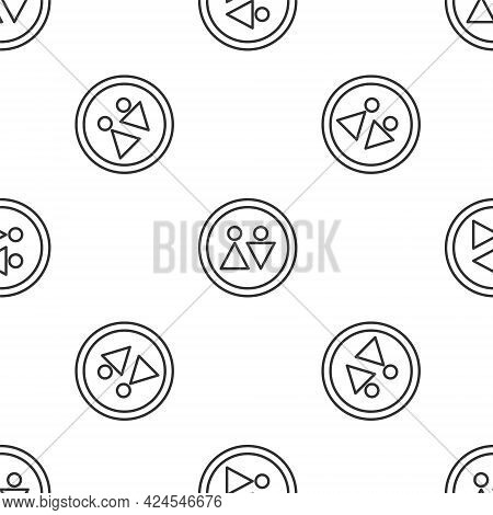 Grey Line Toilet Icon Isolated Seamless Pattern On White Background. Wc Sign. Washroom. Vector