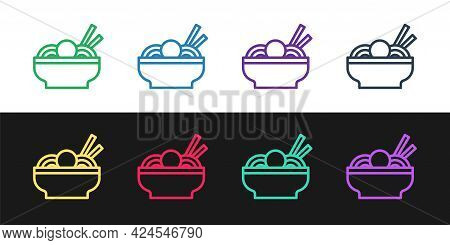 Set Line Asian Noodles In Bowl And Chopsticks Icon Isolated On Black And White Background. Street Fa
