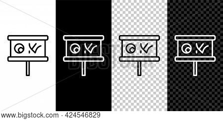 Set Line Planning Strategy Concept Icon Isolated On Black And White, Transparent Background. Basebal