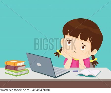Child Girl Bored Of Studying  In Front Of The Laptop. Concept Of Tired Kid From Home E-learning Or O