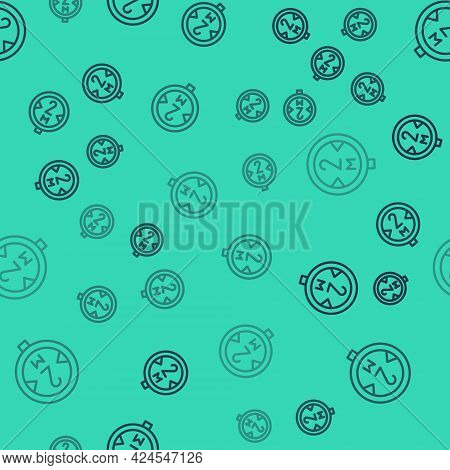Black Line Road Traffic Sign. Signpost Icon Isolated Seamless Pattern On Green Background. Pointer S