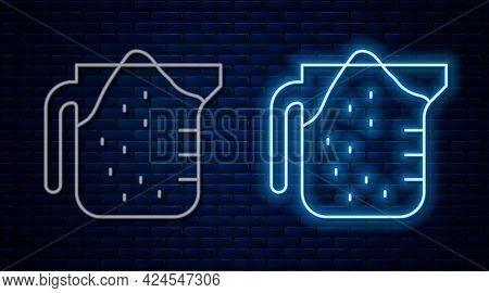 Glowing Neon Line Measuring Cup To Measure Dry And Liquid Food Icon Isolated On Brick Wall Backgroun