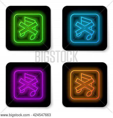 Glowing Neon Line Speaker Mute Icon Isolated On White Background. No Sound Icon. Volume Off Symbol.