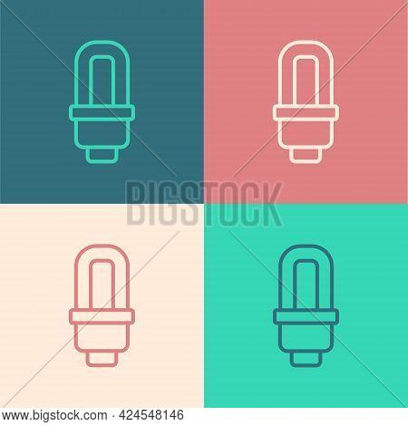 Pop Art Line Led Light Bulb Icon Isolated On Color Background. Economical Led Illuminated Lightbulb.