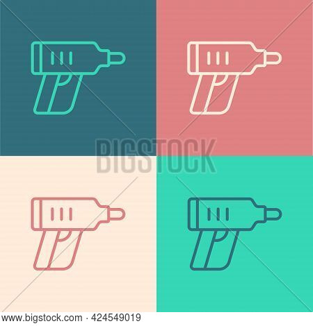 Pop Art Line Electric Cordless Screwdriver Icon Isolated On Color Background. Electric Drill Machine