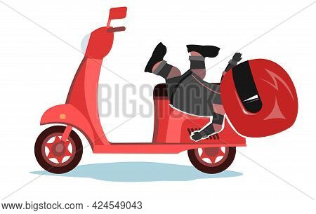 Scooter Driver. Biker Cartoon. Child Illustration. Fell. In A Sports Uniform And A Red Helmet. Cool