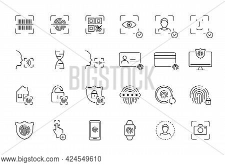Recognition Of Identity Line Icon. Set Of Biometric Verification With Barcode, Qr Code, Fingerprint,