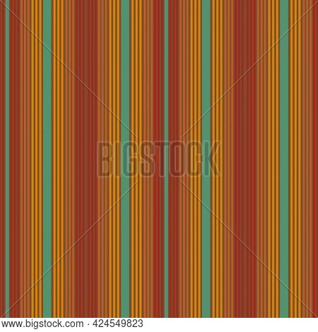 Blanket Stripes Vector Seamless Pattern. Serape Background In Red And Green Colors. Traditional Mexi