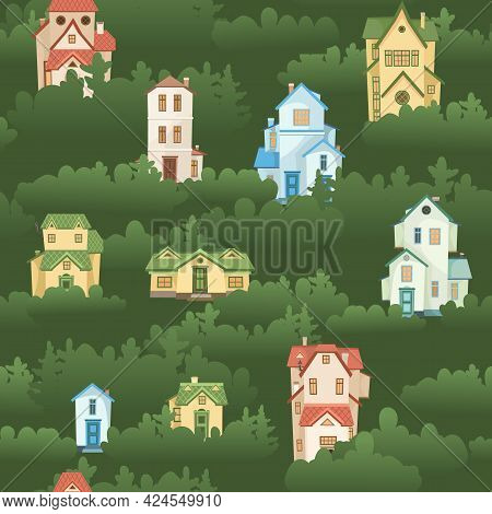 Town Among The Trees. Seamless Illustration With Cartoon Village Or City Houses. Day. Nice Cozy Priv