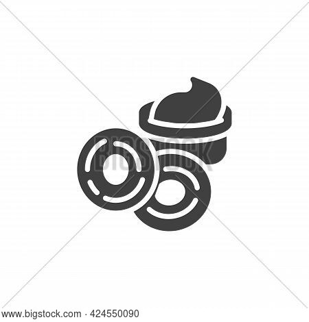 Fried Onion Rings Vector Icon. Filled Flat Sign For Mobile Concept And Web Design. Onion Rings And S