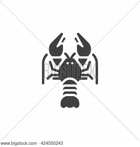 Crayfish Vector Icon. Filled Flat Sign For Mobile Concept And Web Design. Crayfish Seafood Glyph Ico