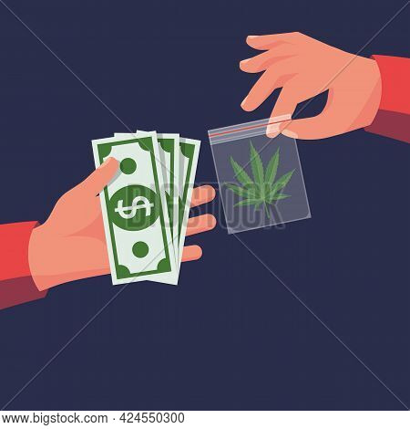 Marijuana Sale. Cannabis Leaf In Dealer Package. Drug Trade. Drug Deal. Money In Hand. Abuse And Add