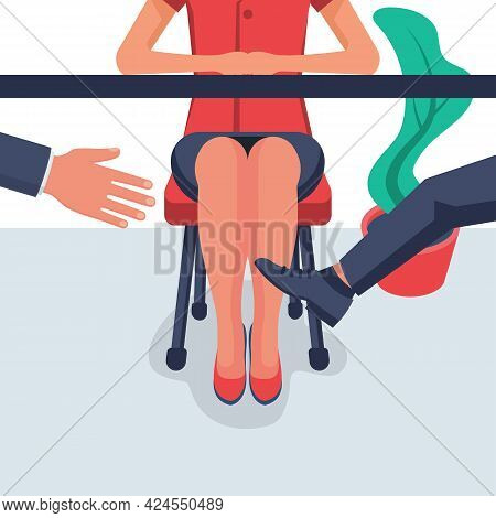 Harassment Concept. Businessman Touches A Woman Behind The Leg, Under The Table. Violence In The Wor